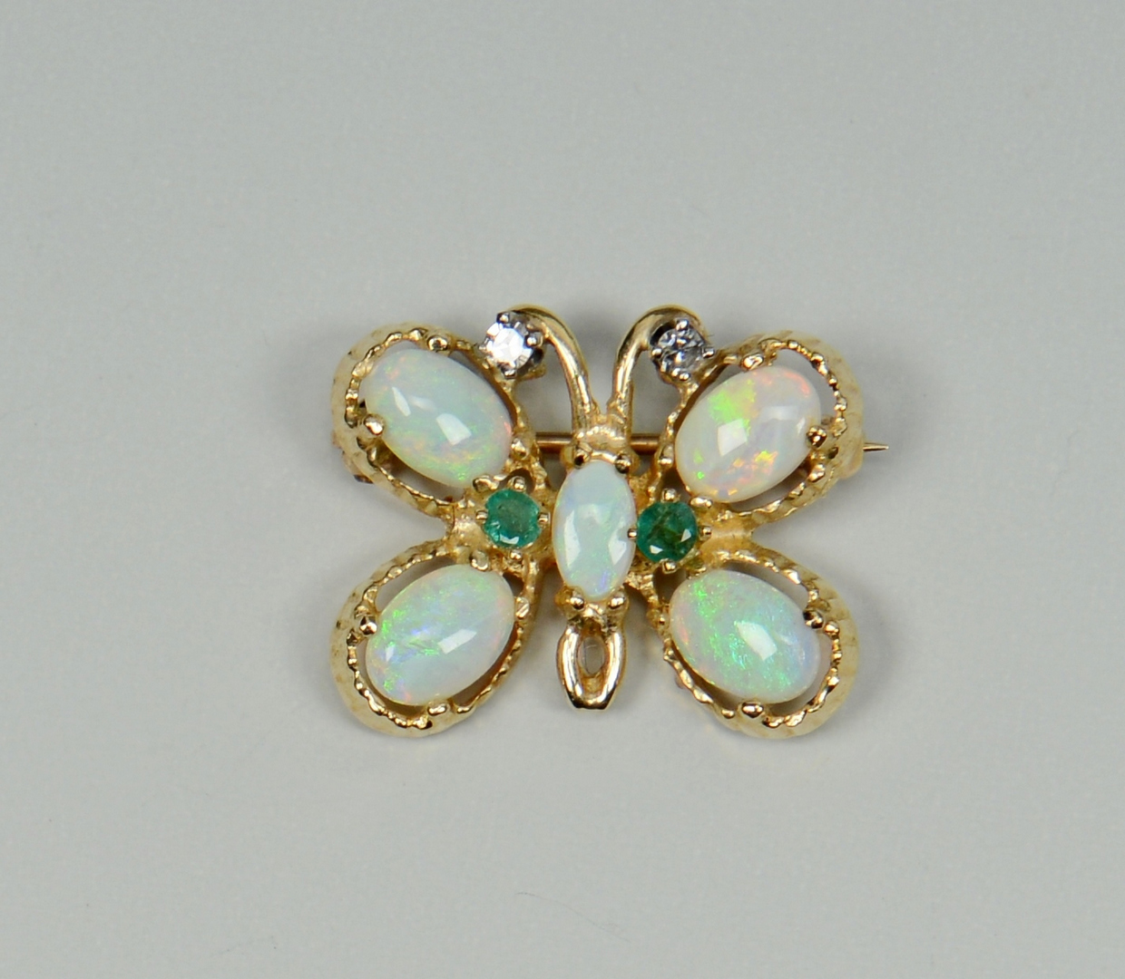 Lot 3088224: 14k Spray Pin, Butterfly pin, Cameo Brooch