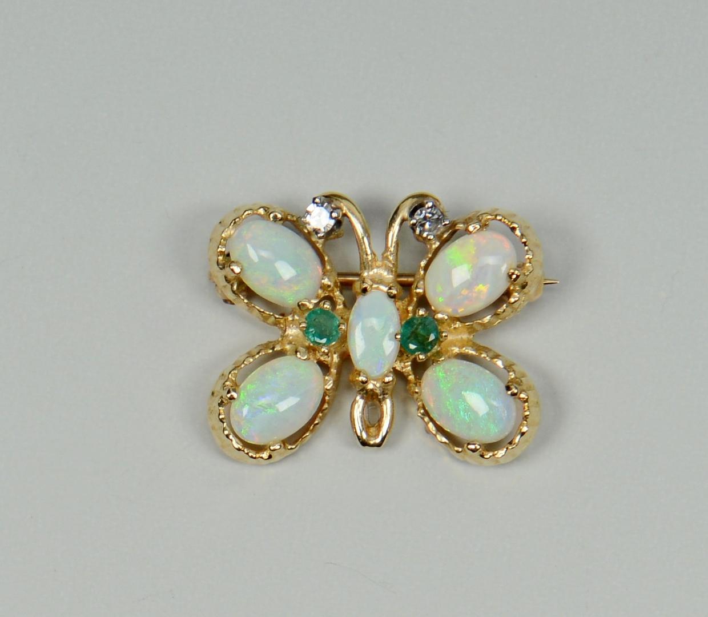 Lot 3088224: 14k Spray Pin, Butterfly pin, Cameo Brooch