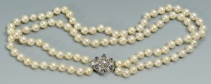 Lot 3088226: Pearl Necklace w/ 14k Dia & Sapphire Clasp