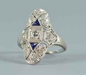 Lot 3088228: Art Deco Diamond, Sapphire Ring