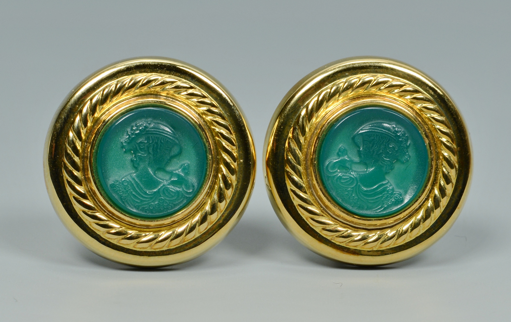 Lot 3088230: 18k Earrings w/ Green Onyx Intaglios