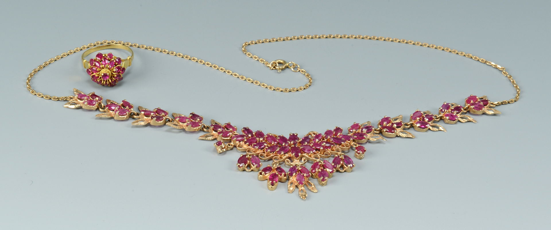 Lot 3088231: 14k Ruby Stone Necklace and Ballerina Ring