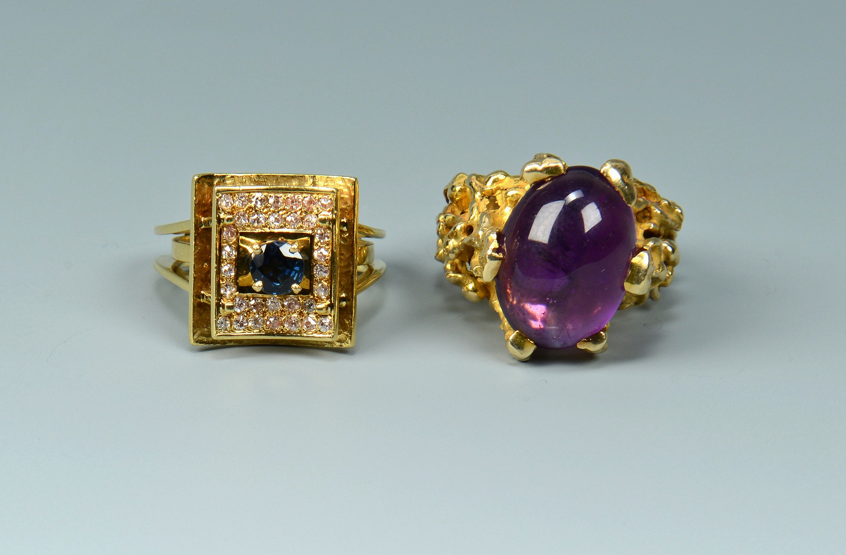 Lot 3088232: Two 14K Colored Stone Rings