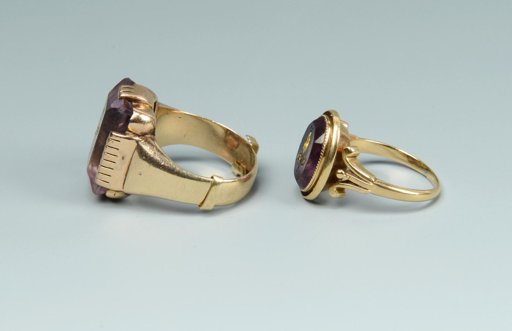 Lot 3088233: Pair Amythest 14K Rings