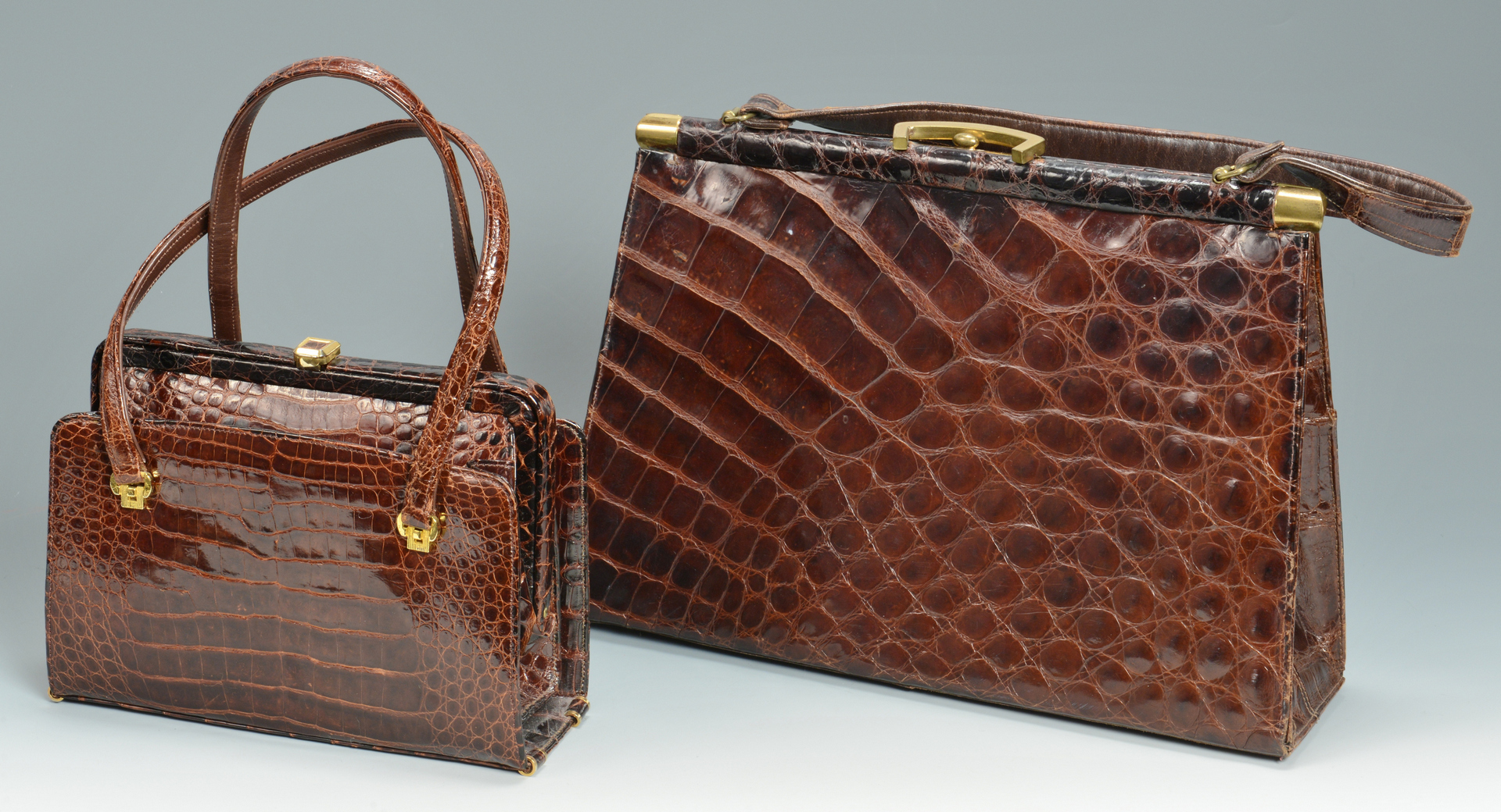 Lot 3088237: 3 Vintage Crocodile/Alligator Handbags plus other