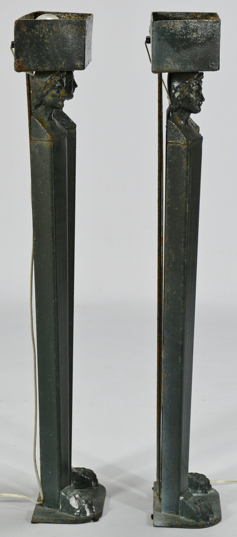Lot 3088244: Pair Figural Iron Art Deco Lamps