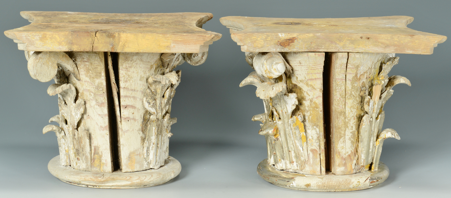 Lot 3088245: Pair of Silvered Gilt Corinthian Capitals
