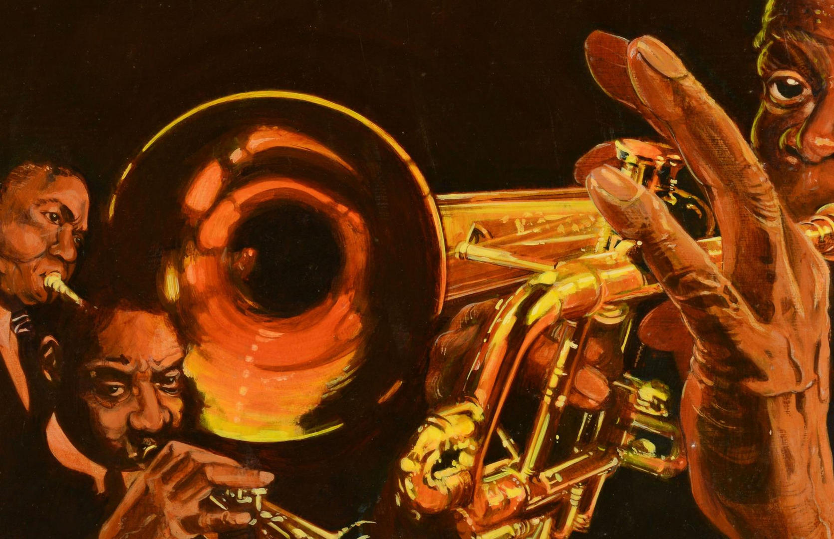 Lot 3088257: 4 Jazz Related Portraits by James Caulfield