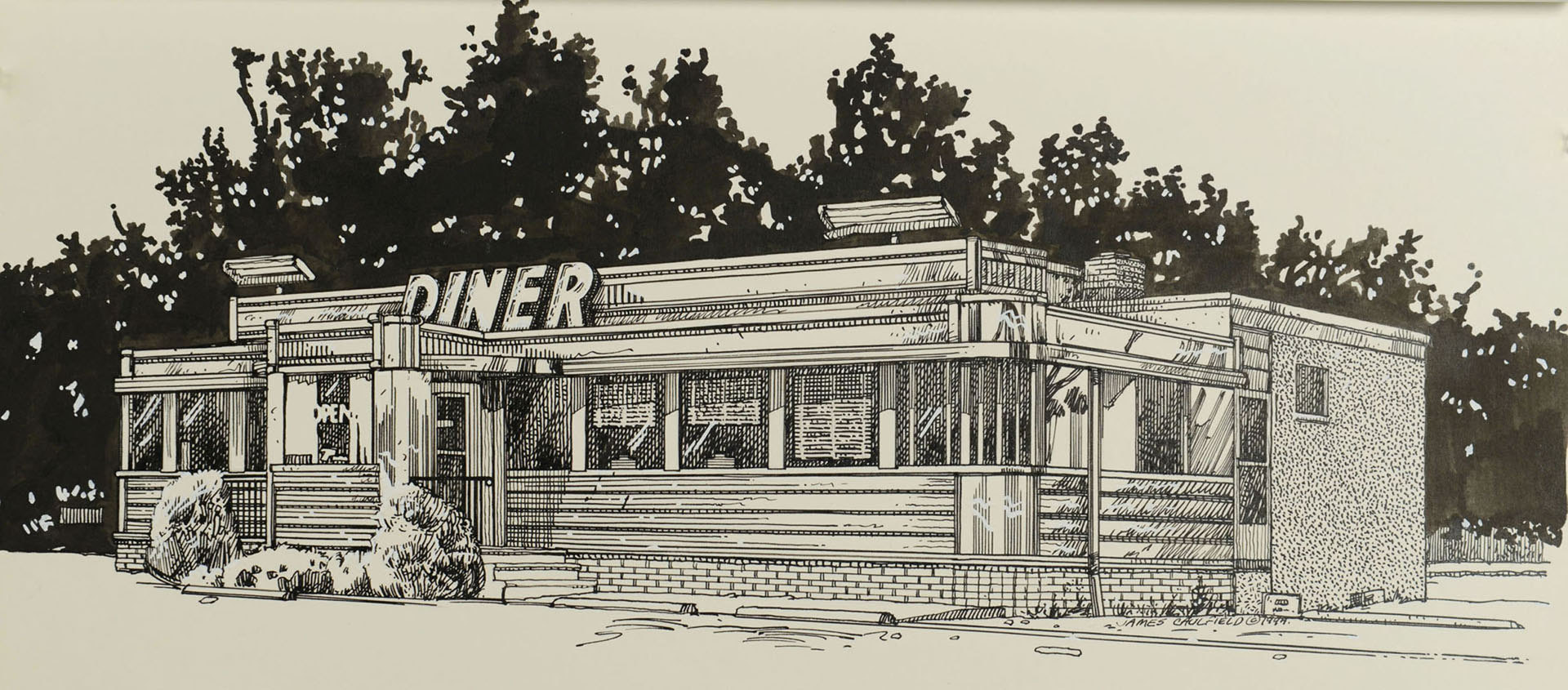 Lot 3088259: 7 Roadside Diner Works by James Caulfield