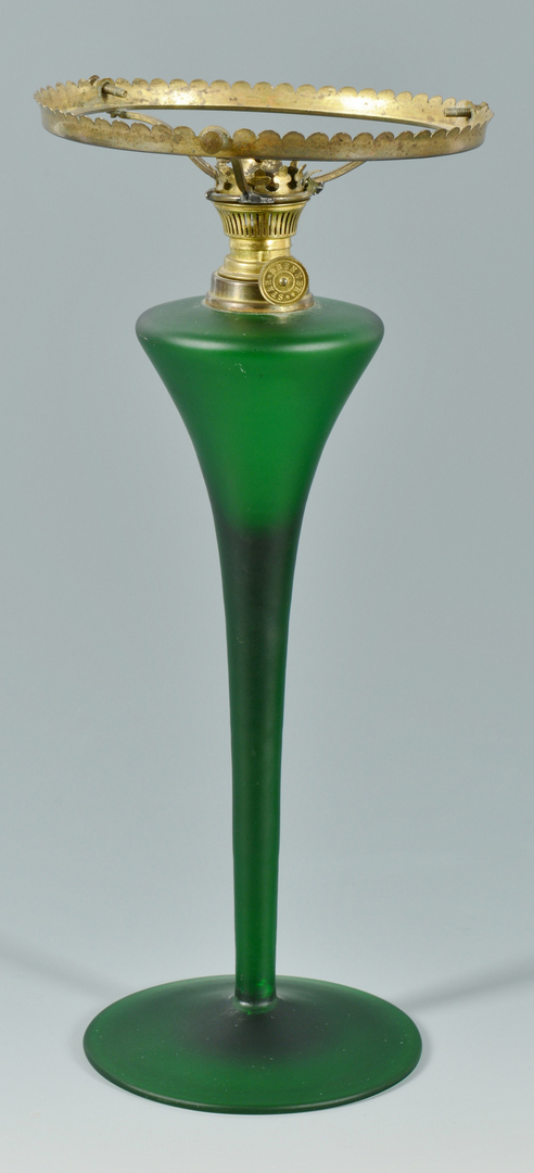 Lot 3088260: Green Art Glass Oil Lamp, attr. Loetz