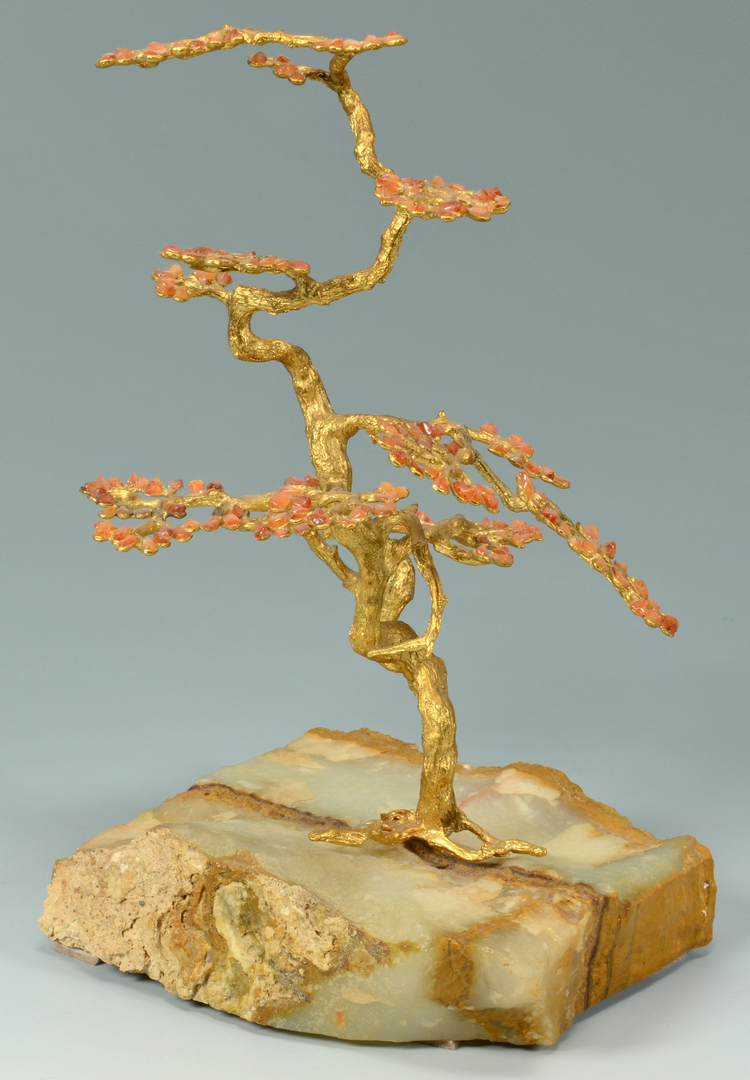 Lot 3088268: Chinese Gilt Bronze Tree & 2 Agate Carved Figures