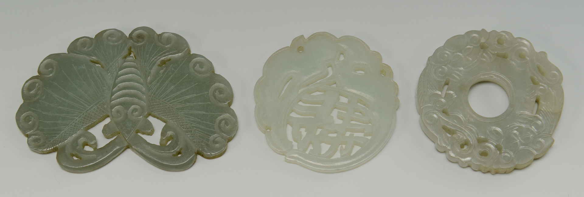 Lot 3088269: 3 Carved Chinese Jade Plaques