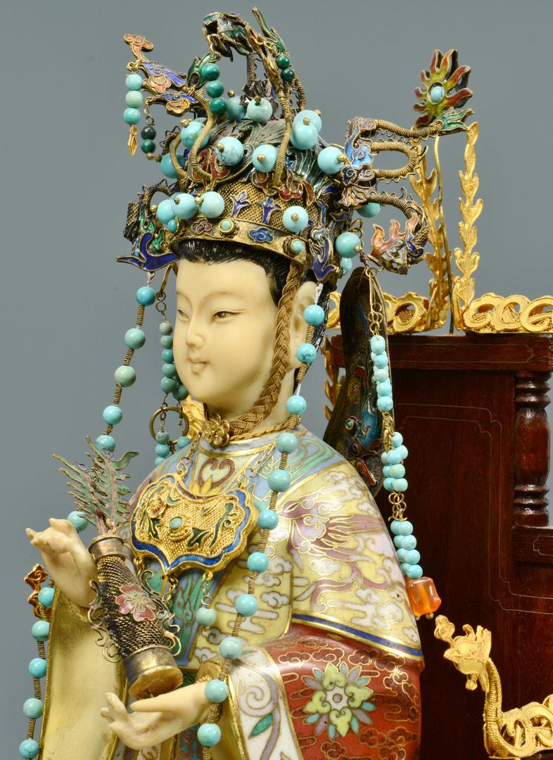 Lot 3088274: Pr Cloisonne Emperor and Empress Figures