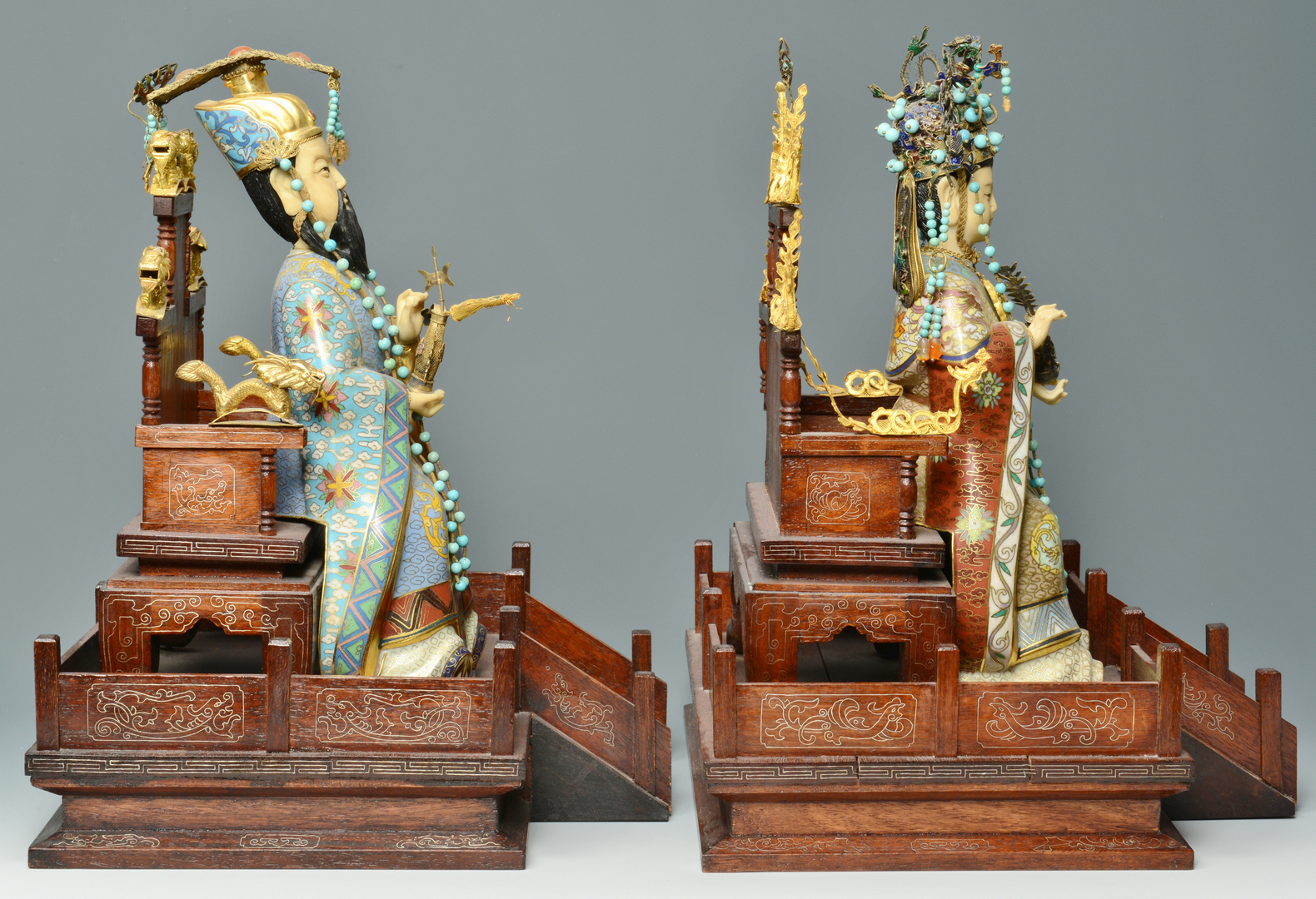 Lot 3088274: Pr Cloisonne Emperor and Empress Figures