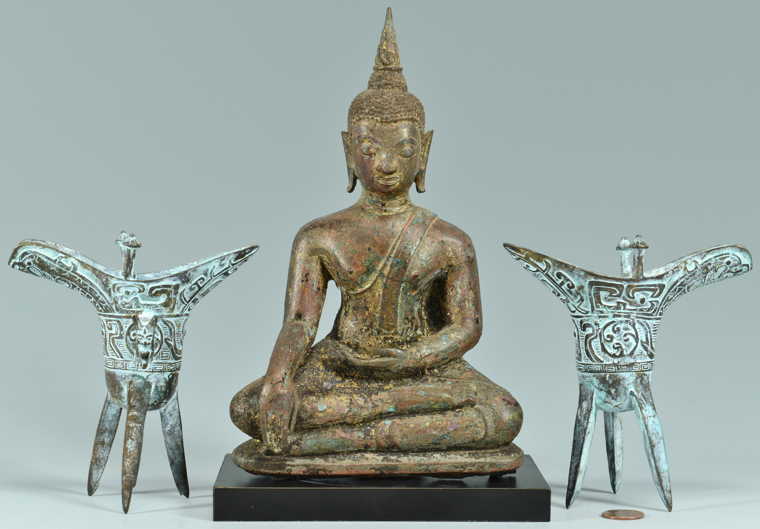 Lot 3088275: Thai Bronze Buddha w/ Pr. Jue Vessels