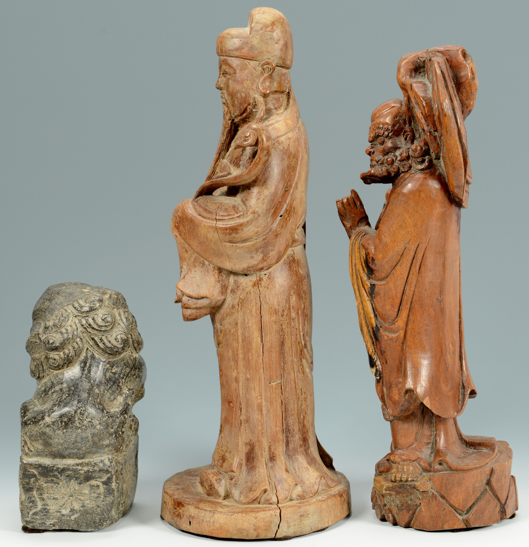 Lot 3088276: 3 Chinese Carvings, wood and stone
