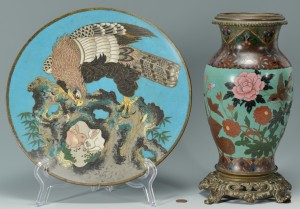 Lot 3088285: Cloisonne Vase and Plate