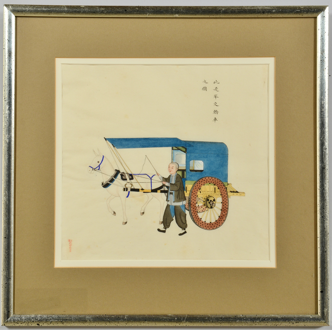 Lot 3088287: Chinese Watercolor w/ Man & Horse