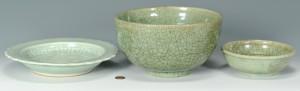 Lot 3088296: 3 Chinese Green Glaze Bowls