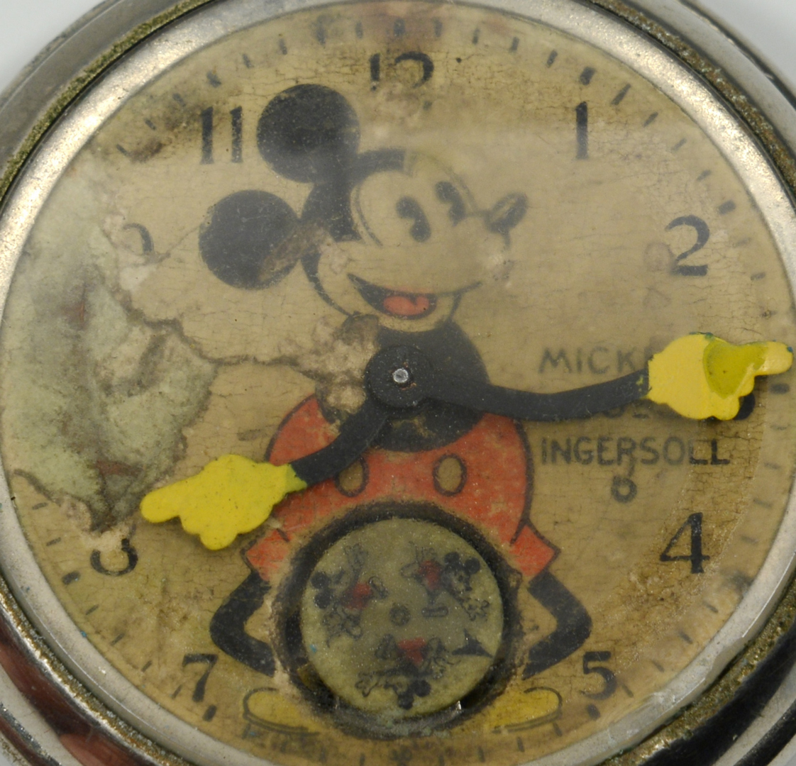 Lot 3088316: 2 Mickey Mouse Ingersoll Pocket Watches & MM Fob