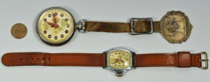 Lot 3088320: 2 Vintage Boy Scout Watches, 1 w/ Bronze Fob