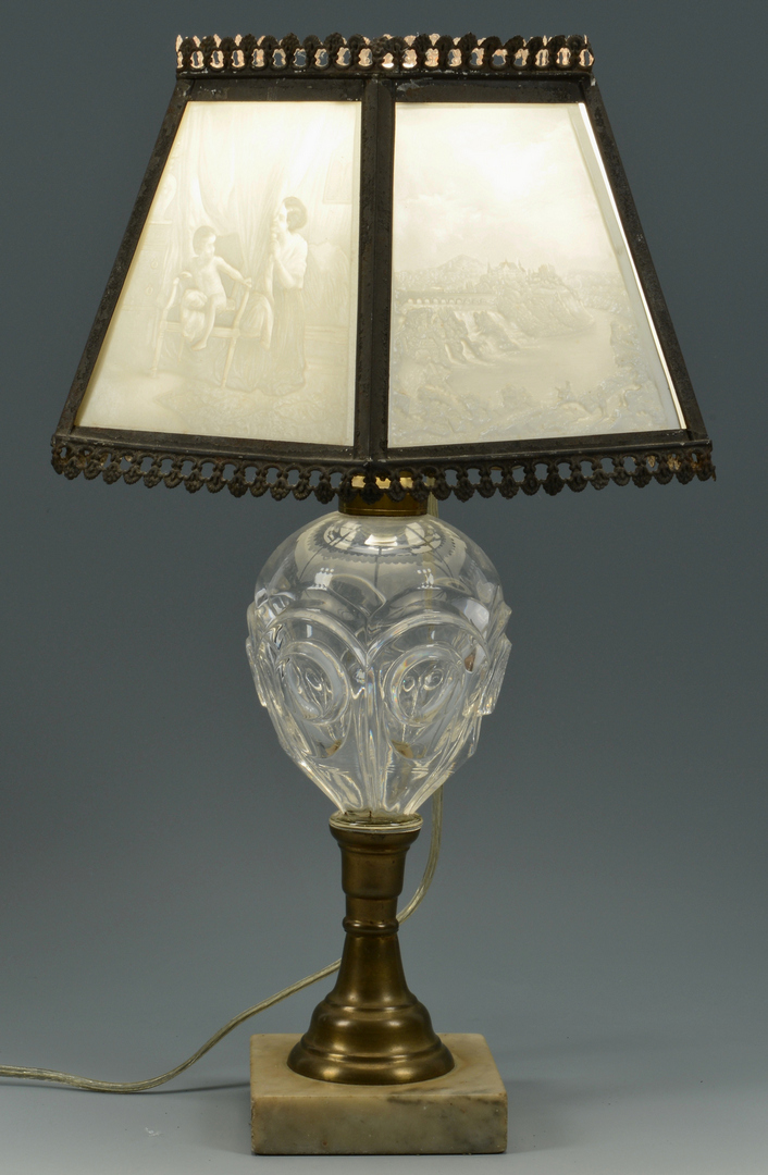 Lot 3088322: Whale Oil Lamp, lithophane shade