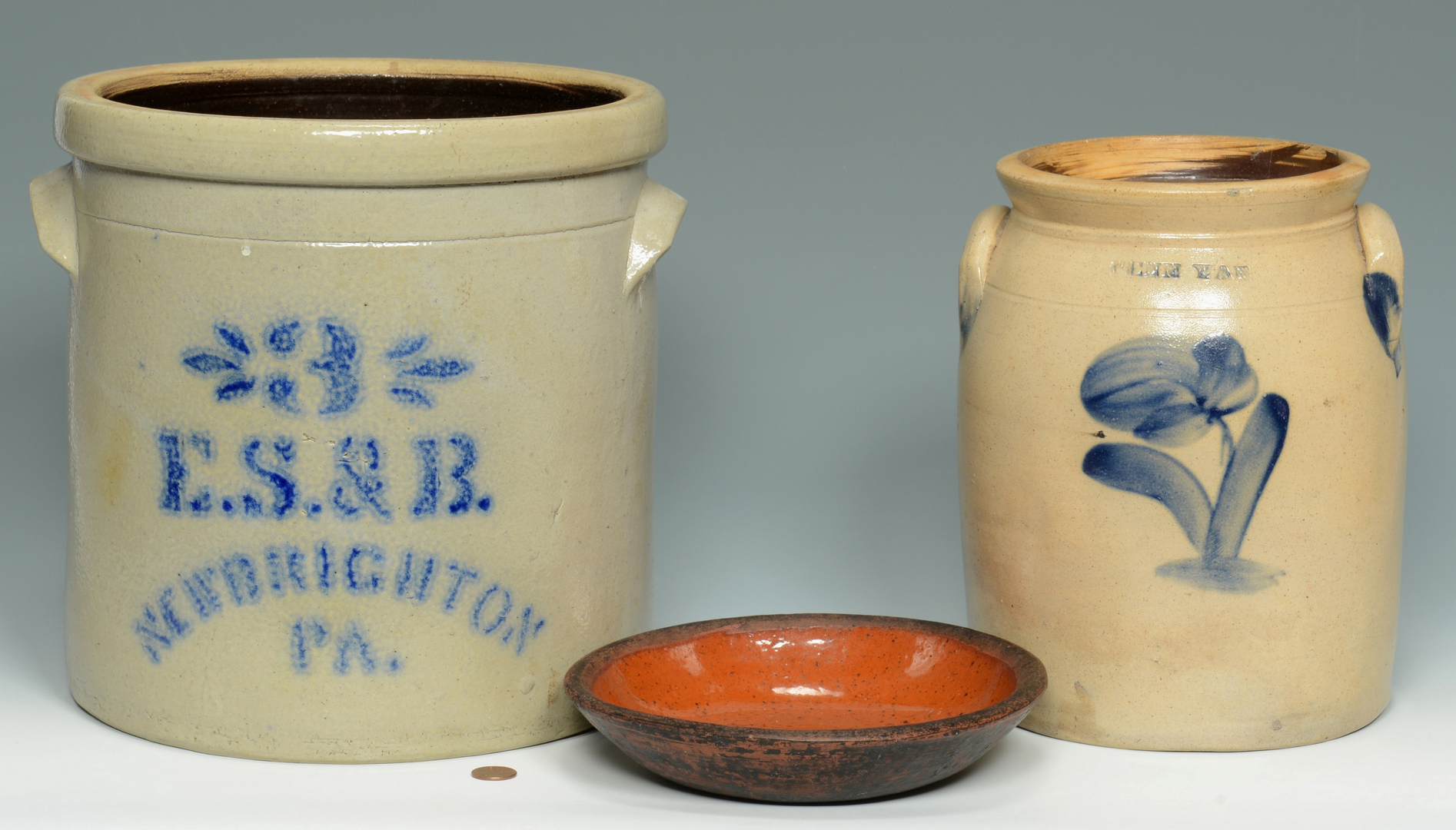 Lot 3088323: 3 PA Pottery Items, 2 with Cobalt