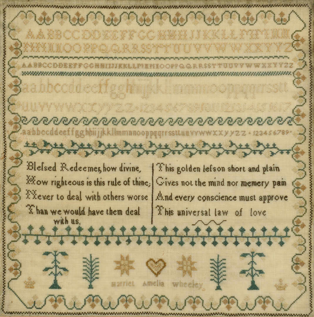 Lot 3088326: Harriet Wheeley Needlework Sampler