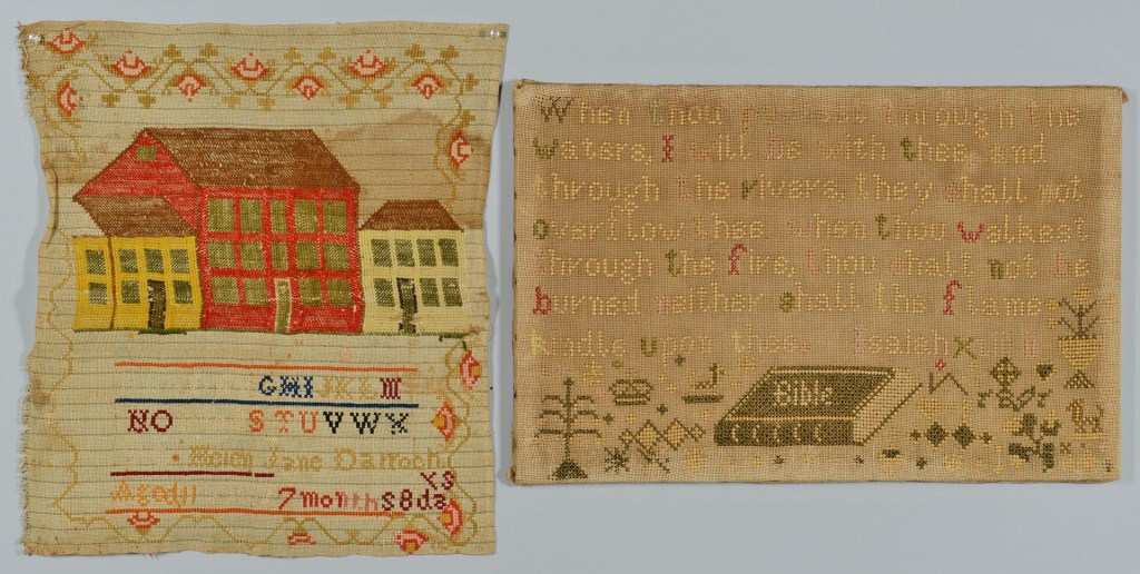 Lot 3088327: 2 Samplers, Pictorial Bible Verse and Building