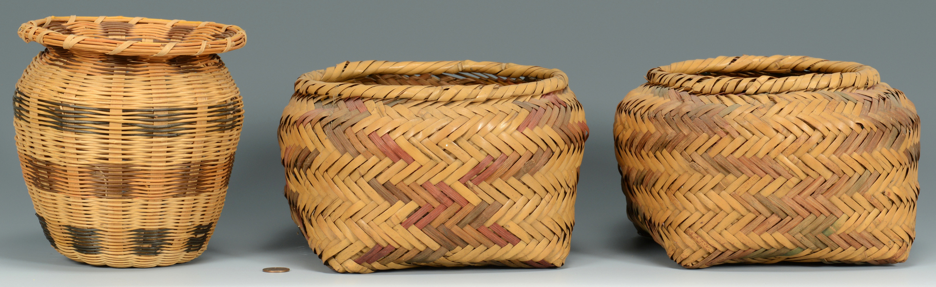 Lot 3088331: 2 Choctaw Rivercane Baskets & 1 Cherokee
