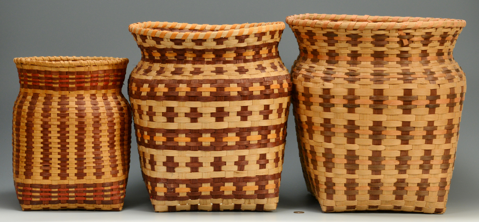 Lot 3088332: 3 Cherokee Baskets, 2 w/ Qualla Tags
