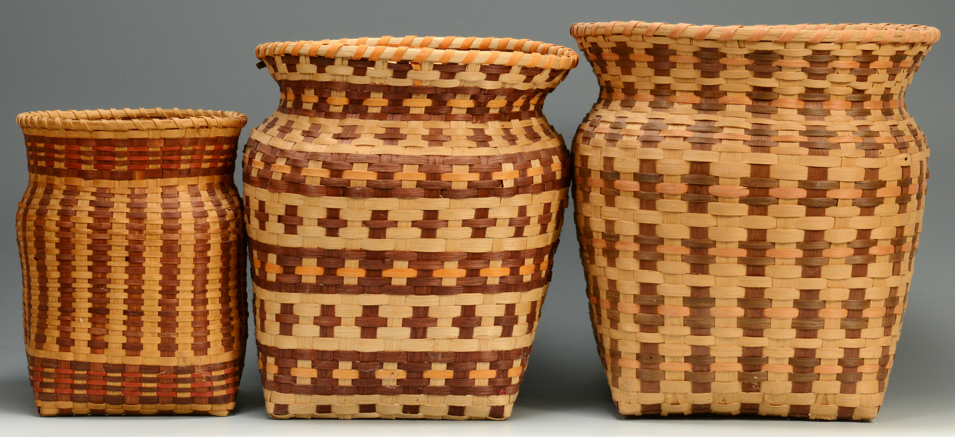 Lot 3088332: 3 Cherokee Baskets, 2 w/ Qualla Tags
