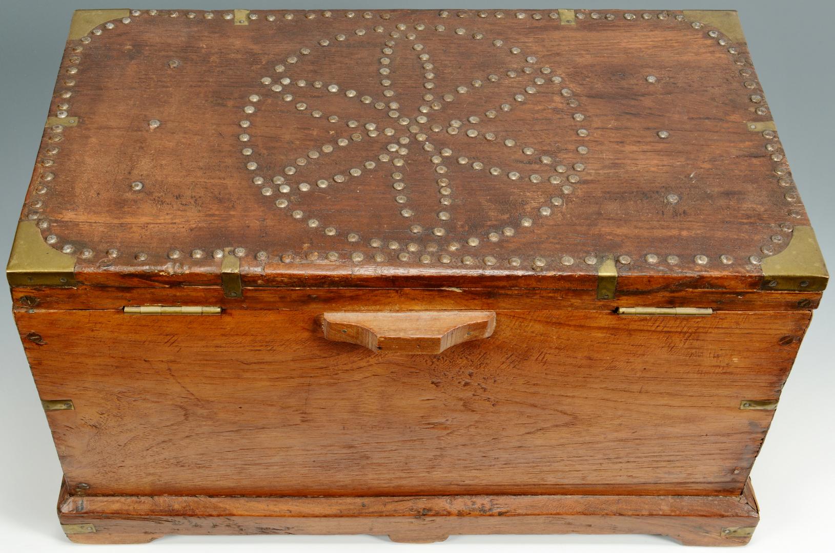 Lot 3088336: Diminutive Storage Chest w/ Brass Tack Decoration