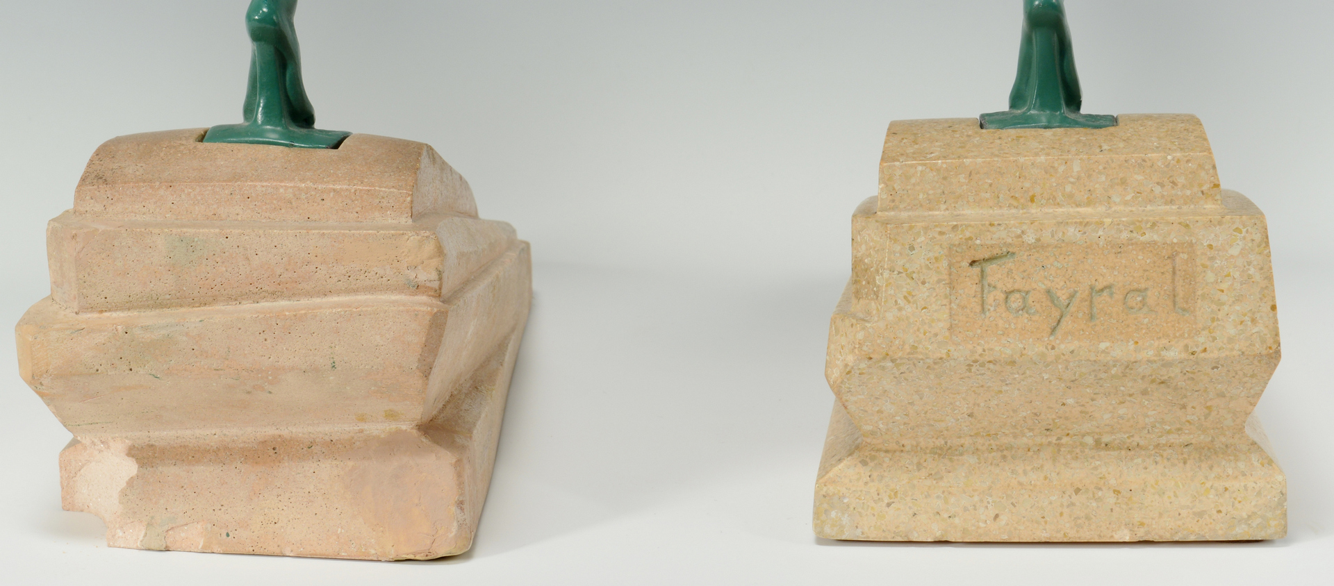 Lot 3088342: Two Art Deco Figures on stone bases, Fayral