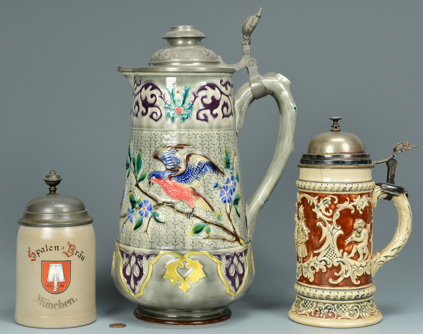Lot 3088353: Grouping of 3 Steins, incl. Majolica