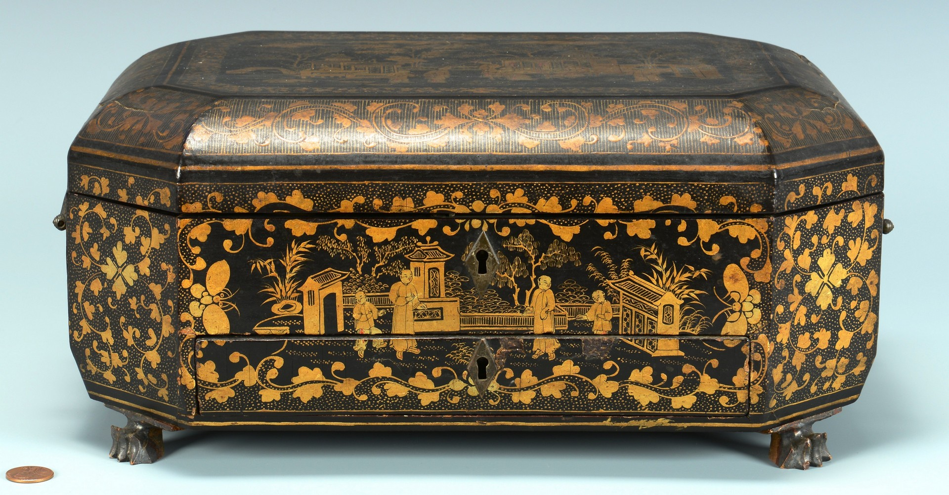 Lot 3383148: Chinoiserie Sewing Box with Contents