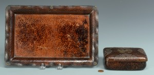 Lot 3383149: Japanese Hammered Copper Box w/ Undertray, signed