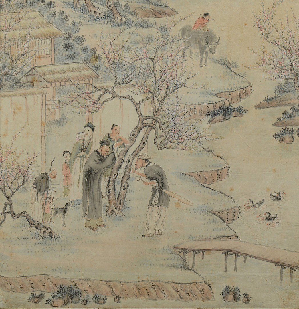 Lot 3383150: Chinese Colored Ink on Paper Painting w/ Letter
