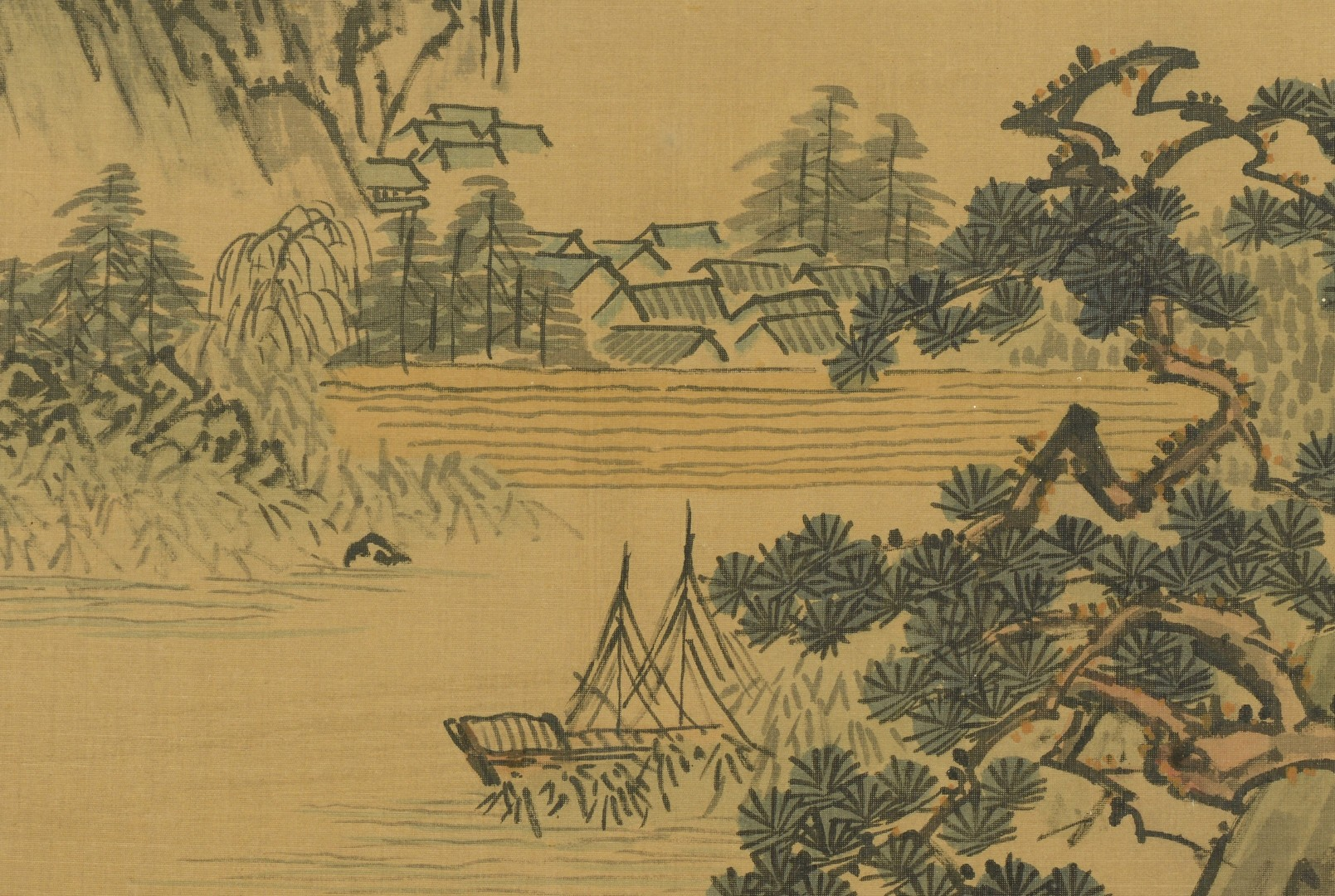 Lot 3383152: 3 Framed Chinese Silk Scroll Paintings