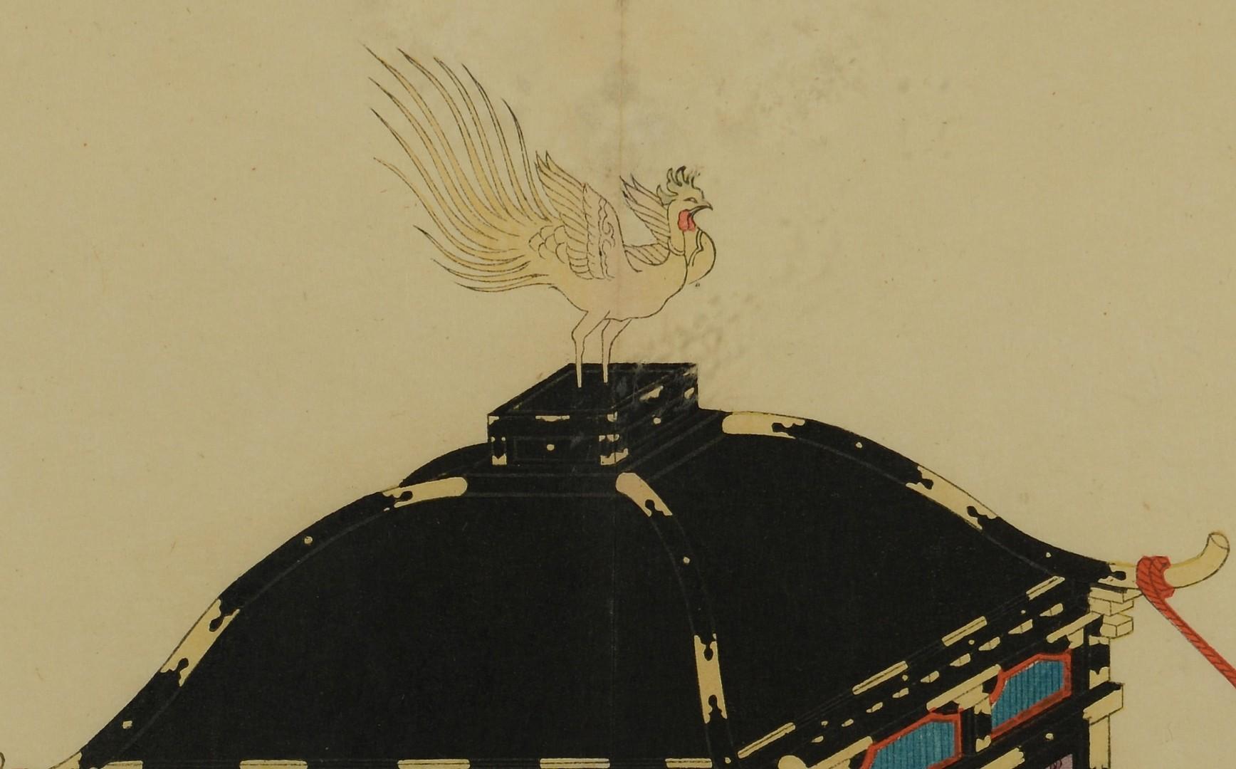 Lot 3383154: Japanese gouache – Norimono or sedan chair