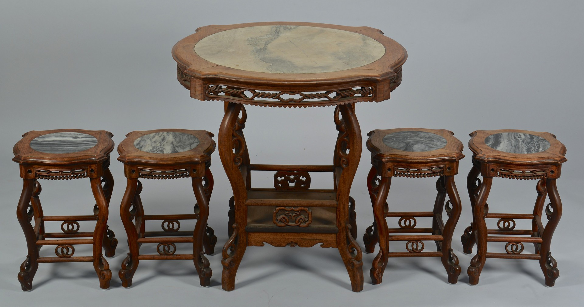 Lot 3383160: Chinese Marble Top Hardwood Table & 4 Stools