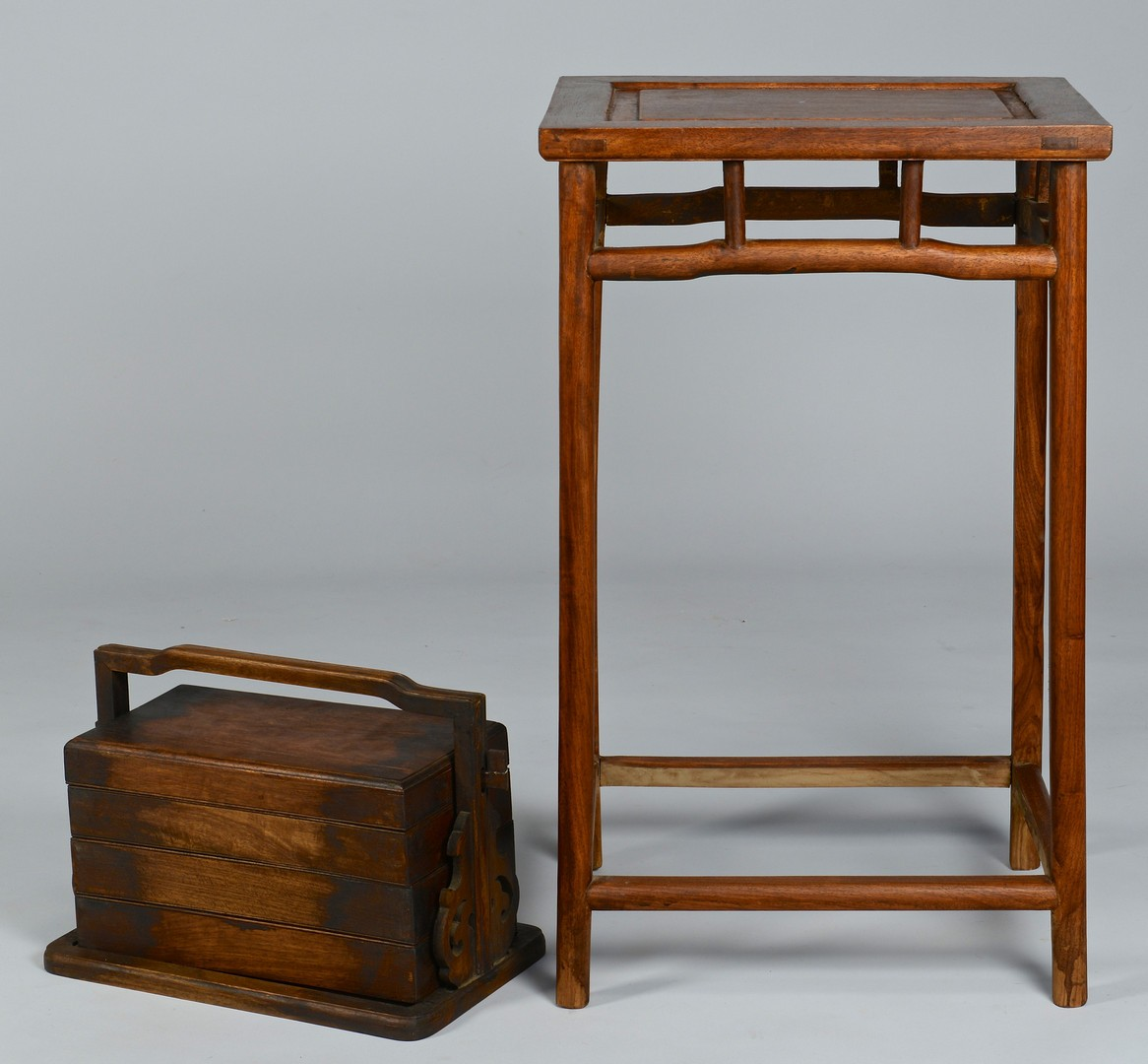 Lot 3383161: Chinese Hardwood Plant Stand & Lunchbox