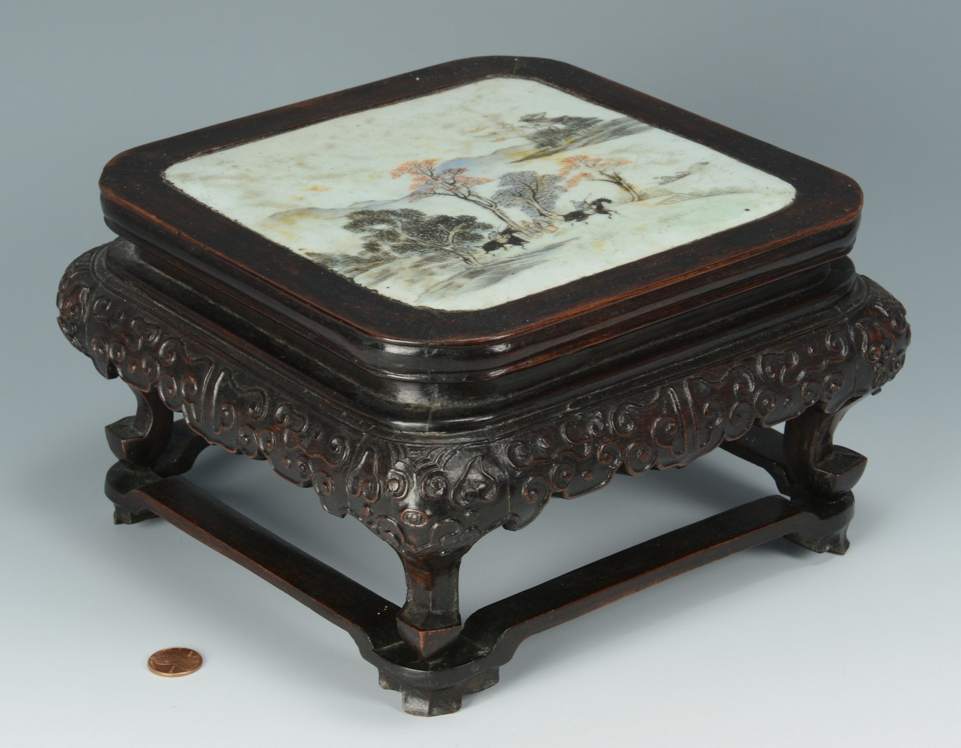 Lot 3383164: Chinese Famille Rose Plaque w/ hardwood stand