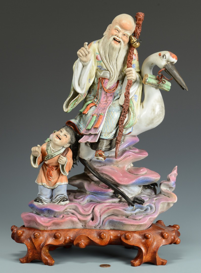 Lot 3383165: Chinese Porcelain Figure, immortal and child