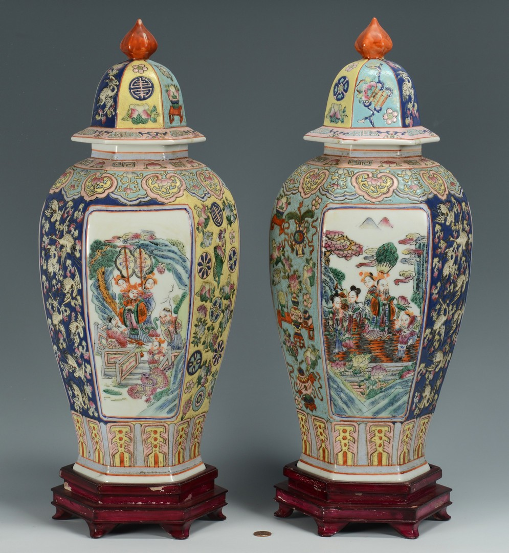 Lot 3383172: Pair Chinese Covered Hexagonal Urns