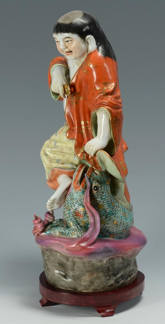 Lot 3383173: Asian Porcelain Figure, man with dragon