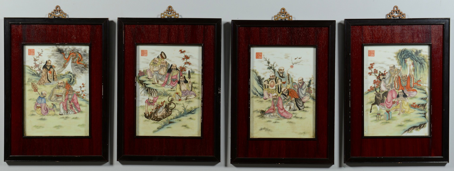 Lot 3383174: 4 Chinese Famille Rose Plaques