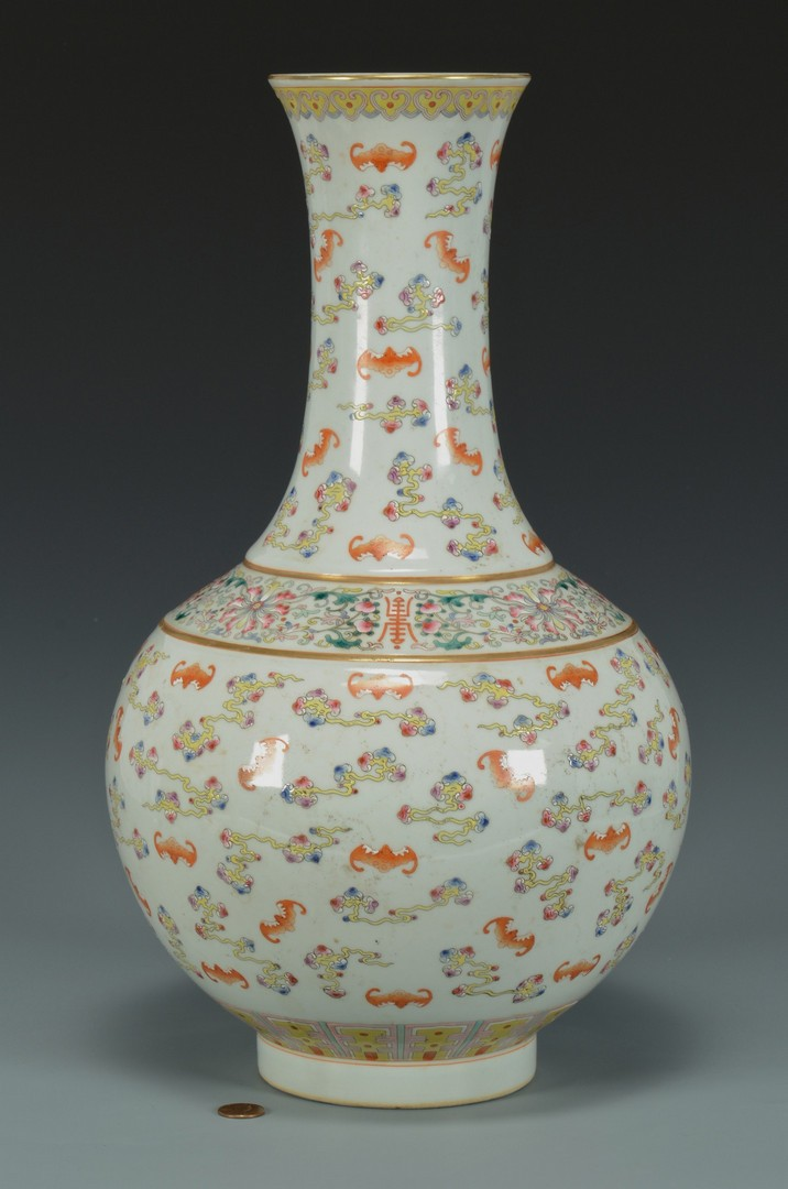 Lot 3383175: Chinese Famille Rose Vase w/ Bats
