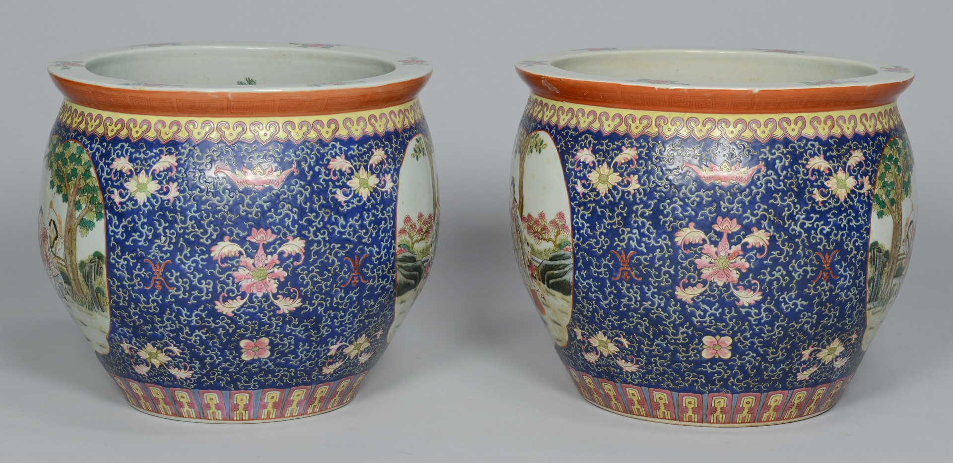 Lot 3383176: Pair large Chinese Republic Jardinieres