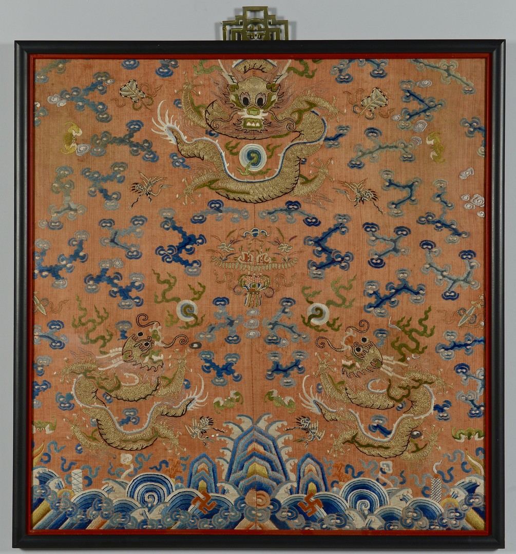 Lot 3383182: Framed Chinese Silk Embroidery w/ Dragons